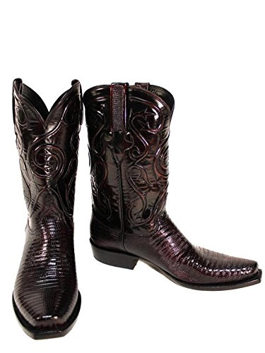 Beautiful Lucchese Mens Black Cherry Lizard 7/8 Boots