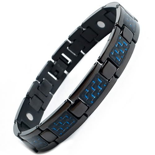 Mens Black Titanium Magnetic Bracelet with Blue Carbon