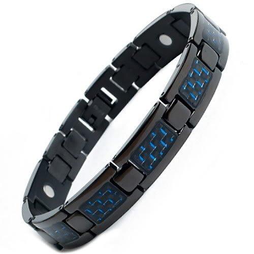 Mens Black Titanium Magnetic Bracelet with Blue Carbon