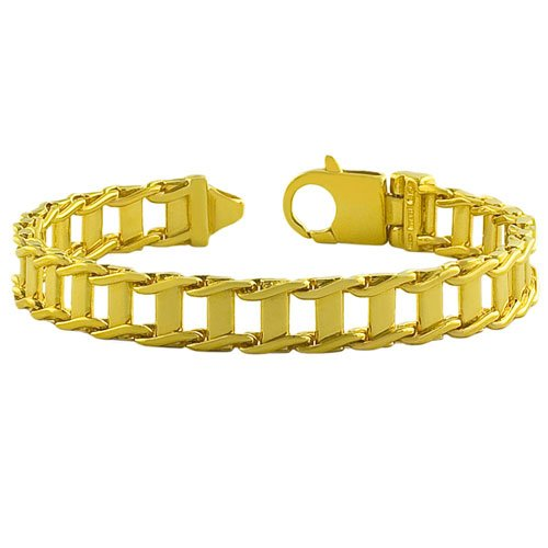18 Karat Gold over Sterling Silver Men's Fancy Link Bracelet