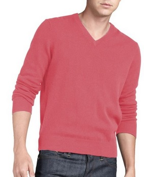 Men's 100% Cashmere V-Neck Sweater in all colors