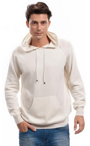 White Cashmere Hoodie for Men