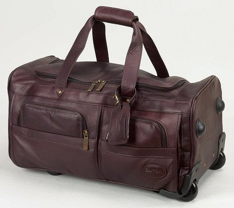 "Beautiful Coffee Color 22"" Leather 2-Wheeled Carry-On Duffel"