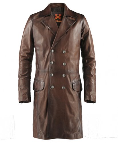 Gothic Style Long Brown Leather Coat for Men