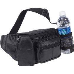 Affordable Genuine Leather Waist Bag with Pocket for Water Bottle