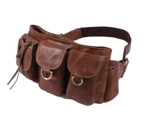 Men's Vintage Style Brown Distressed Leather Waist Pack