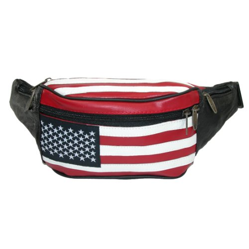 Patriotic American Flag Leather Fanny Pack