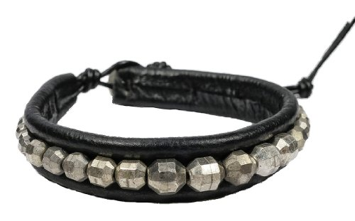 Cool Beads on Black Leather Men's Bracelet