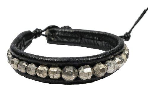 Cool Beads on Black Leather Men's Bracelet