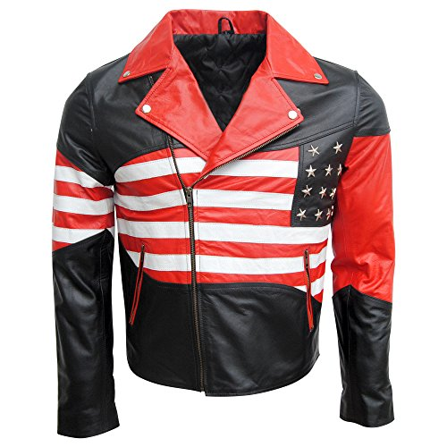 Patriotic American Flag Biker Leather Jacket for Men