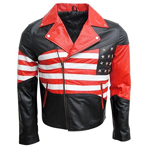 Patriotic American Flag Biker Leather Jacket for Men