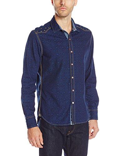 Cool Indigo Blue Long-Sleeve Button-Down Men's Denim Shirt