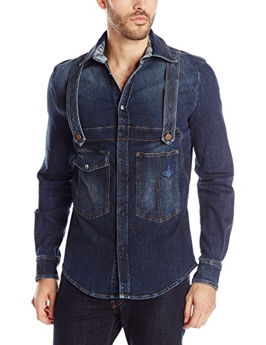 Blue Denim Men's Long Sleeve Shirt