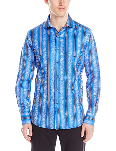 Cool Men's Striped Blue Long Sleeve Button Down Shirt
