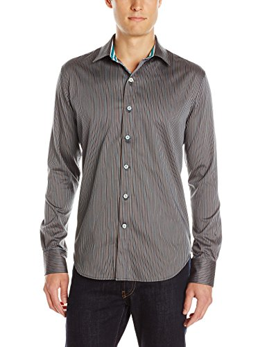 Beautiful Striped Dark Grey Long Sleeve Button-Down Shirt for Men