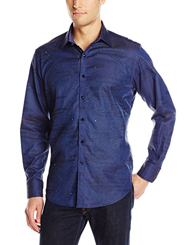 Men's Navy Color Long Sleeve Button-Down Shirt
