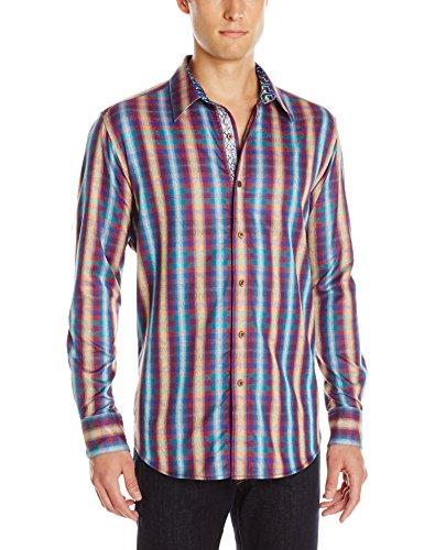 Cool Paisley Jacquard Plaid Men's Long Sleeve Button-Down Shirt