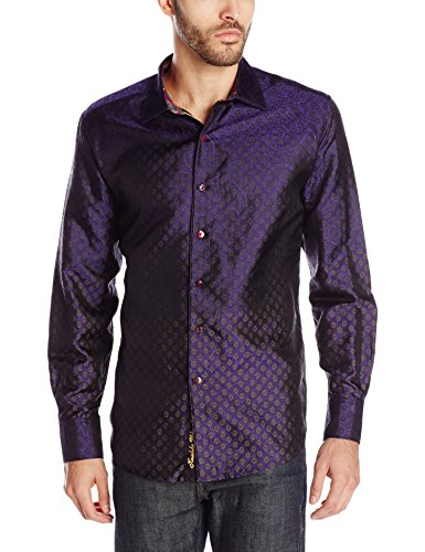 Gorgeous Purple Silk Long Sleeve fancy Men's Shirt