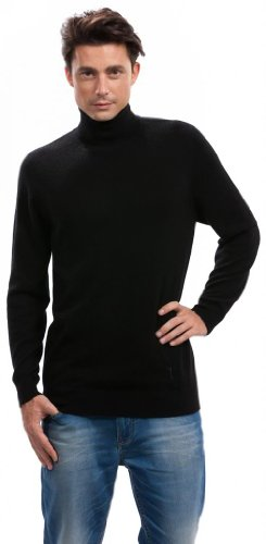 Men's Turtleneck Black Cashmere Sweater