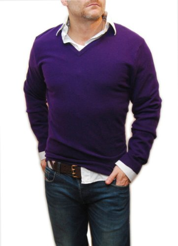Nice V-Neck Purple Sweater for Men