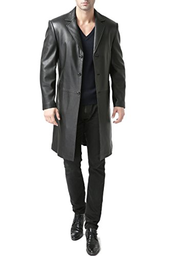 Gorgeous lambskin Long Leather Coat for Tall Men