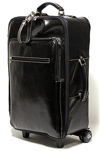 Black Leather Rolling Luggage for Men