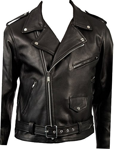 Men's Classic Retro Black Real Leather Brando Motorcycle Biker Jacket