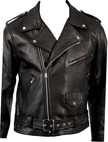 Men's Classic Retro Black Real Leather Brando Motorcycle Biker Jacket