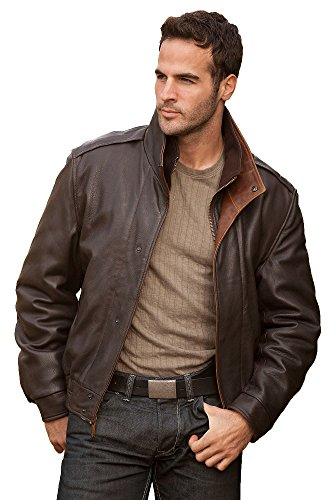 Lambskin Men's Leather Bomber Jacket Brown