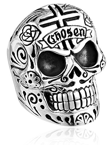 Large Skull Ring with Chosen Cross Detail