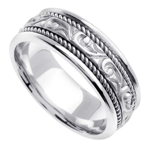 White Carved Wedding Ring for Men