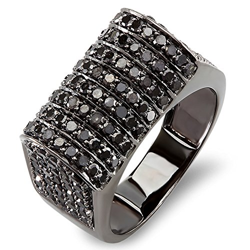 10k White Gold Round Black Diamond Men's Hip Hop Pinky Ring