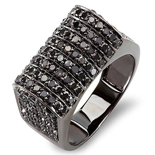 10k White Gold Round Black Diamond Men's Hip Hop Pinky Ring
