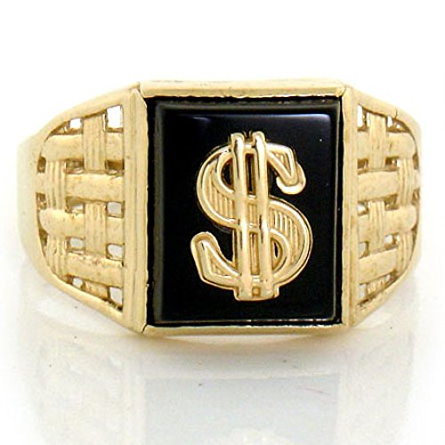 14k Yellow Gold Onyx Cash Dollar Sign Mens Ring