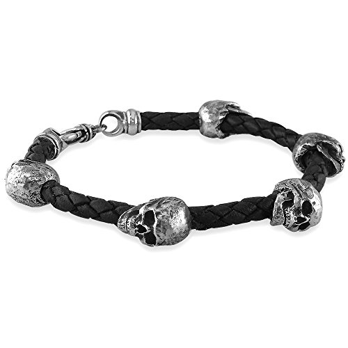 cool silver skulls leather bracele